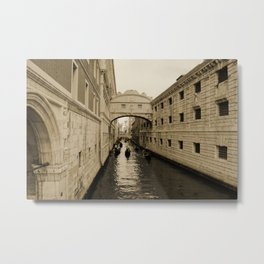 Bridge of Sighs, Venice, Italy, Sepia,  Metal Print