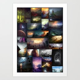 Fantasy Worlds - A Digital Art Collage Art Print