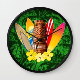 Surfboards And Tiki Mask Palm Trees Wall Clock