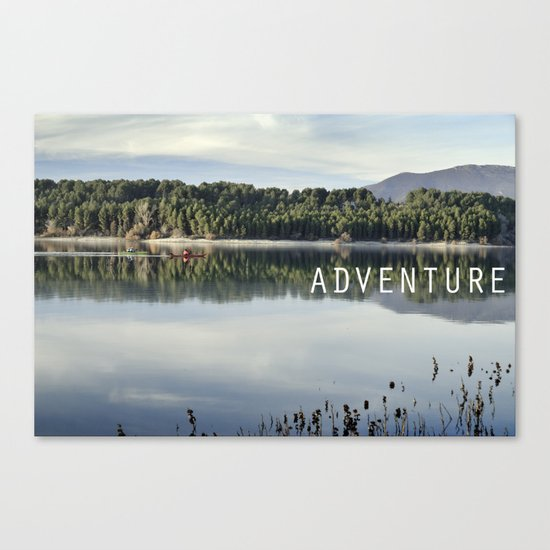 Adventure. Canoeing on the lake.  Canvas Print