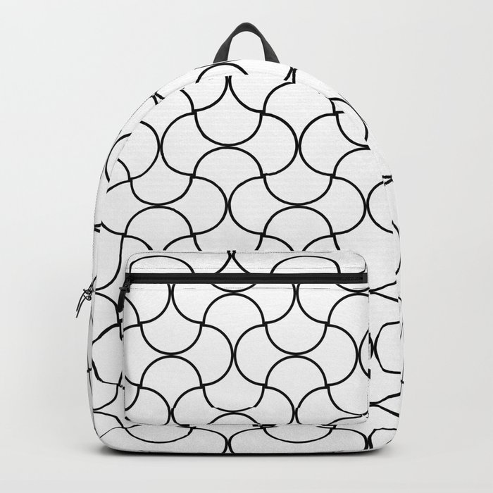 Waves Puzzle Net Pattern-White Backpack