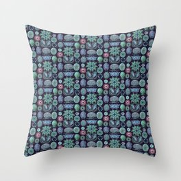 Ernst Haeckel Ascidiae Sea Squirts Teal on Purple Throw Pillow