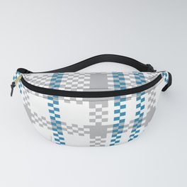 Plastic Woven Checkered bag: Blue and Grey Fanny Pack