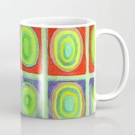 Green Grid filled with Circles and intense Colors Coffee Mug