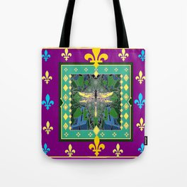 Yellow Dragonfly Purple Fleur de Lys Abstract Tote Bag