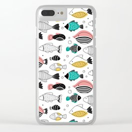Into the blue - pink fish Clear iPhone Case