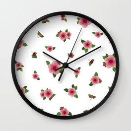 Sweet Pink Roses - white Wall Clock
