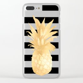 Gold Pineapple Black and White Stripes Clear iPhone Case