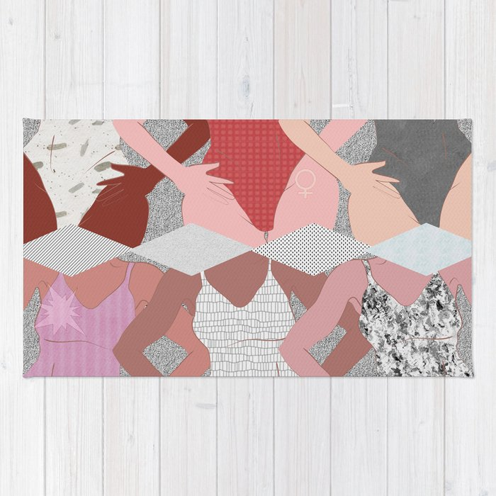 My Thighs Rub Together & I'm OK With That - Positive Body Image Digital Illustration Rug