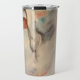 Egon Schiele - Crouching Nude in Shoes and Black Stockings, Back View Travel Mug