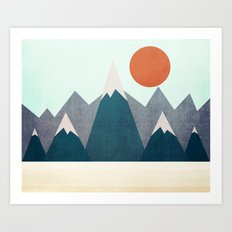 Behind the mountain Art Print