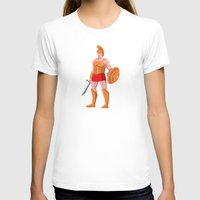 gladiator T-shirts featuring gladiator roman centurion warrior standing by retrovectors