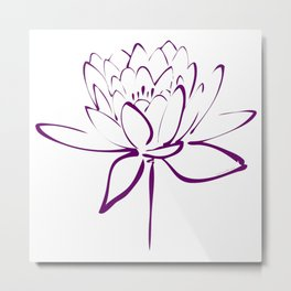 Lotus Blossom Calligraphy Purple 2 Metal Print