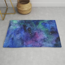 Colorful Galaxy Space Watercolor Rug