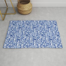 Succulents - Monochrome Blue Rug