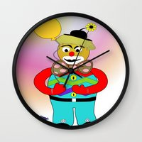 clown Wall Clocks featuring Clown by LoRo  Art & Pictures