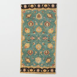 Oushak  Antique Gold Teal Turkish Rug Print Beach Towel