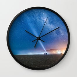 Coastal Lights and the Night Sky Wall Clock