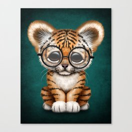 Cute Baby Tiger Cub Wearing Eye Glasses on Teal Blue Canvas Print