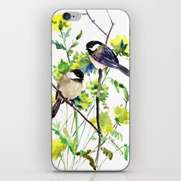 chickadees and Spring Blossom iPhone Skin