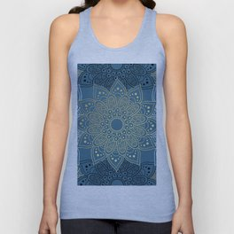 GOLDEN MANDALA ON BLUE Unisex Tank Top