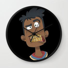 Gangster with gold teeth Wall Clock