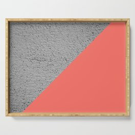 Geometrical Color Block Diagonal Concrete vs coral Serving Tray