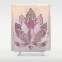 Elegant Glamorous Pink Rose Gold Lotus Flower Shower Curtain
