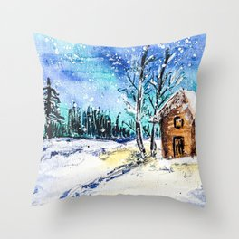 Handpainted Snowy Cabin Throw Pillow