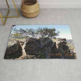 Cool tree, rocks, road trip, growing from a rock pile Rug