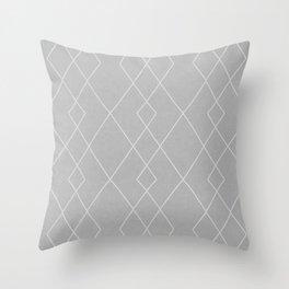 Fine diamond lines on dove grey Throw Pillow