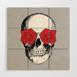 Skull and Roses | Grey and Red Wood Wall Art