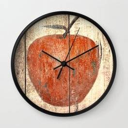 Red Apple Rustic Brown Kitchen Art Country Bistro Still Life A297 Wall Clock