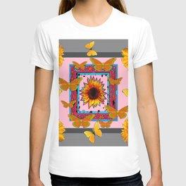 SOUTHWEST ART BUTTERFLIES SUNFLOWERS T-shirt