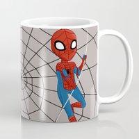 spider man Mugs featuring Spider-Man by Nozubozu