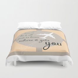Travel quote- inspirational quote- wanderlust quote- airplane- plane- success Duvet Cover