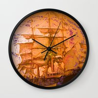 pirate ship Wall Clocks featuring pirate ship by Vector Art