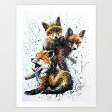 Little foxes Art Print