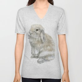 Lop Rabbit Watercolor Painting Bunny Unisex V-Neck
