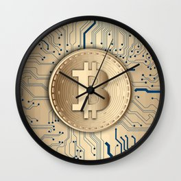 Bitcoin money gold Wall Clock