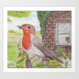 Robin Redbreast and Ginger Tom Art Print