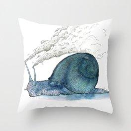 Escargot fumant Throw Pillow