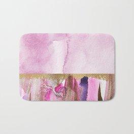Light Magenta, Gold And Purple Abstract Watercolor Art Bath Mat