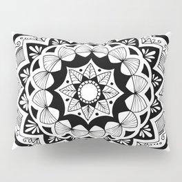 Moroccan black mandala on white Pillow Sham