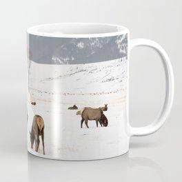 Herd of Elk in Wyoming on a Snowy Winter Day Coffee Mug