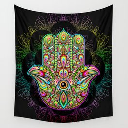 Hamsa Hand Amulet Psychedelic Wall Tapestry