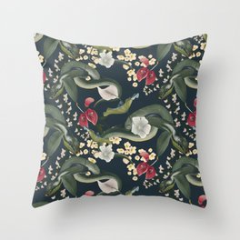 Green snakes, red blossoms and beautiful flora Throw Pillow