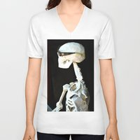 skeleton V-neck T-shirts featuring skeleton by Francesco Mestria