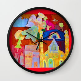 Rainbow Angel Wall Clock