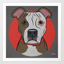 Icons of the Dog Park: Pitbull Design in Bold Colors for Pet Lovers Art Print